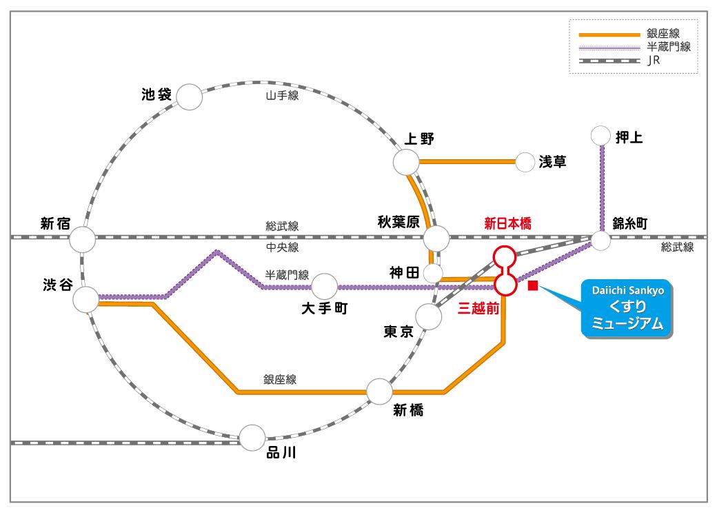 最寄り駅までの路線図